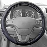 07 silverado steering wheel - Motor Trend GripDrive Carbon Fiber Series - Steering Wheel Cover - Synthetic Leather Comfort Grip Handles (Black)