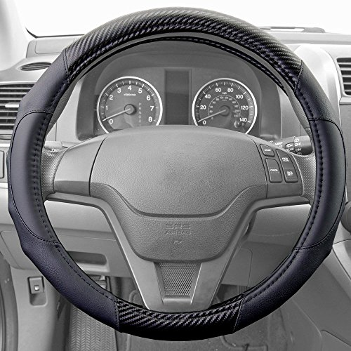 Motor Trend GripDrive Carbon Fiber Series - Steering Wheel Cover - Synthetic Leather Comfort Grip Handles (Black) (2004 Chevrolet Tracker Wheel)