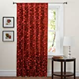 Triangle Home Fashions Lush Decor 84-Inch lillian Curtain Panel, Red