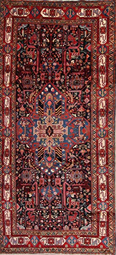 Rug Source Traditional Nahavand Wool Hand-Knotted Persian Black Oriental Runner Rug 10 ft (10' 4