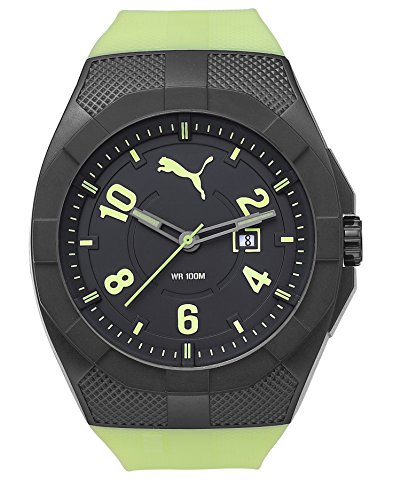 Puma Iconic Men's Quartz Watch with Black Dial Analogue Display and Green Silicone Strap