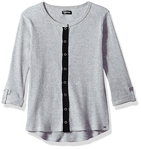 kensie Big Girls' Long Sleeve Fashion T-Shirt (More Styles Available), Heather Gray, 7/8 by kensie