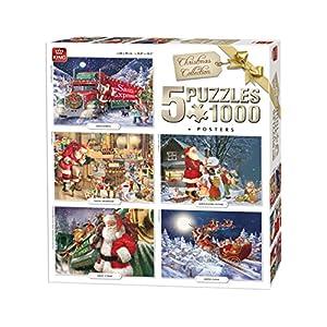 King 5219 Christmas 5 In 1 Puzzle 5 X Puzzle Da Pezzi 68 X 49 Cm Manifesti Inclusi