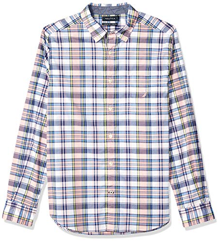 Nautica Men's Big and Tall Long Sleeve Stretch Casual Plaid Button Down Shirt, Coral Sands, 2XLT