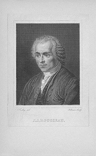 1820 Original Antique - Jean-Jacques Rousseau original antique c.1820 engraved portrait print