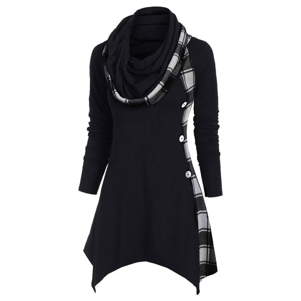 TUU Women Plaid Patchwork t-Shirt Cowl Neck Button Irregular Hoodie Tops Hoodie Convertible Handkerchief Black by TUU-Fashion Shirt