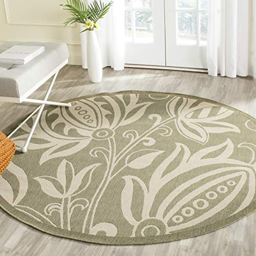Outdoor Olive - Safavieh Courtyard Collection CY2961-1E06 Olive and Natural Indoor/ Outdoor Round Area Rug (5'3