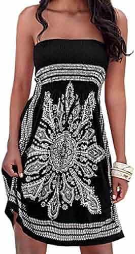 121fe3645c312 Imagine Women's Summer Dress Strapless Floral Print Bohemian Casual Beach  Dress Cover Ups for Swimwear Women