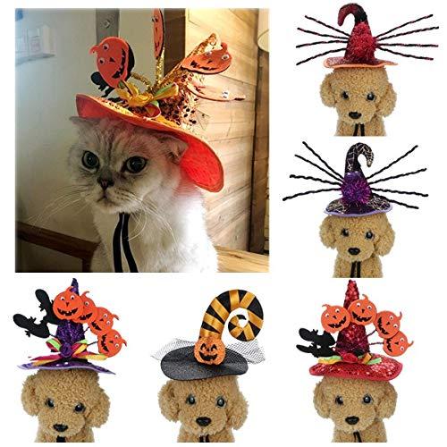 Halloween Pet Witch Hat,Cat Dog Adjustable Cute