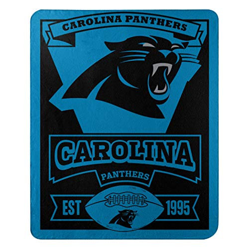 (NFL Carolina Panthers Marque Printed Fleece Throw, 50-inch by 60-inch, Carolina Panthers, 50 x)