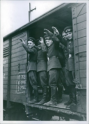 Austria Train - Vintage photo of Happy soldiers saying good bye from a train in Austria.