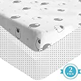 Auroville Crib Fitted Sheets - 2 Pack Jersey Knit Cotton Crib Mattress Topper for Baby Boys Girls - Universal Fitted for Standard Baby or Toddler Crib Mattress (52' x 28' x 8') Polka & Goats
