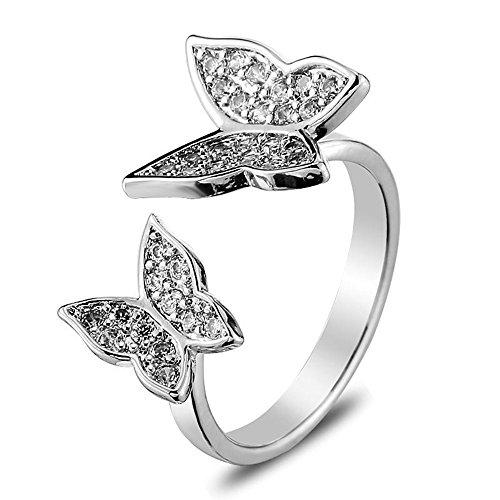 METTU Double Rhinestone Butterfly Finger Rings Open Adjustable Silver Ring for Women
