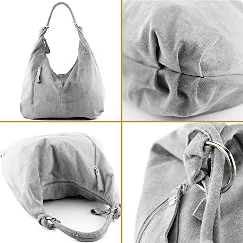 337 bag leather bag handbag Italian metallic hobo bag women's bag Silber TCnwq4