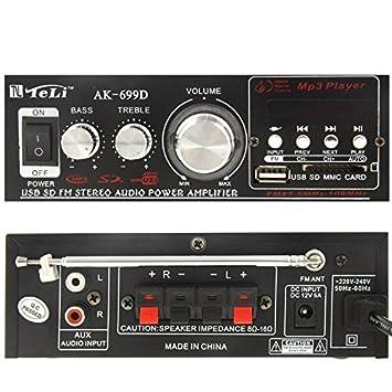 Wewoo Amplificador Hi-Fi Estéreo Audio MP3 Amplificador de Potencia con Mando a Distancia FM