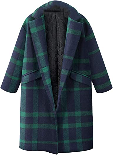 Colourful Womens Plaid Lapel Pockets Buttons Mid Long Fashion Woolen Overcoat
