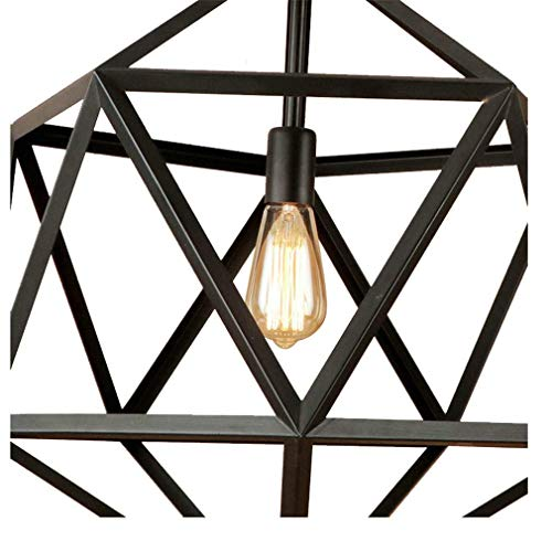 ChuanHan Ceiling Fan Light Chandelier Lightings Polygon Iron Cages Rust Color Led Pendant E27 110 220 Hanging Ing Fixture for Kitchen Living Room Bedroom Chandeliers - Chandeliers Finish Natural Rust
