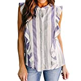 Mose 2018 Summer New Vertical Striped Fashion T-Shirt Womens Short Sleeve Frill Ruffle Striped Printed Casual Tops Blouse T-Shirt (Purple, L)