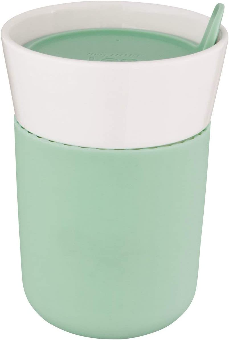 Berghoff Leo Porcelain Travel Mug with Soft-Touch Insulating Sleeve and BPA-Free Lid, 330ml
