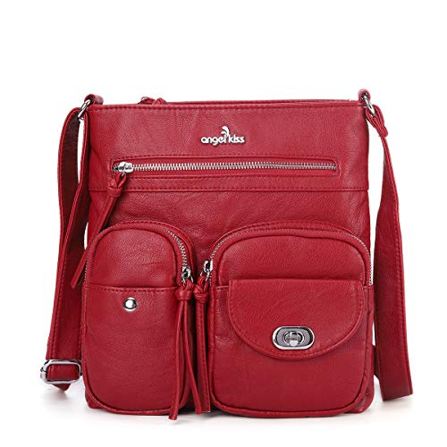 Angelkiss Women's Leather Crossbody Purse and Wallet Cute Small Over the Shoulder Handbags Crossover Cross Body Satchel Bags with Zip Pockets Red, Medium Cotton Leather Shoulder Bag