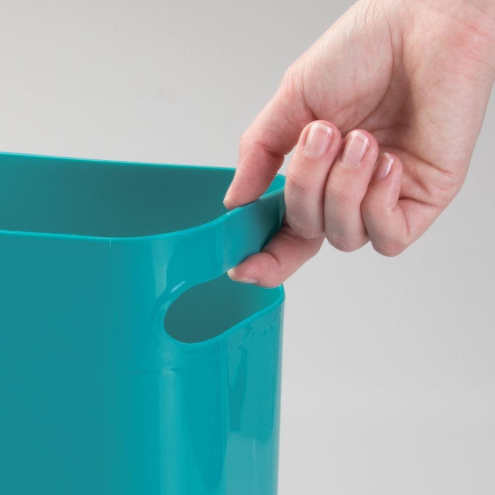 Home Office Kids Room Dorm Garbage Container Bin 12 High mDesign Slim Plastic Rectangular Large Trash Can Wastebasket Handles for Bathroom Shatter-Resistant Kitchen Slate Blue