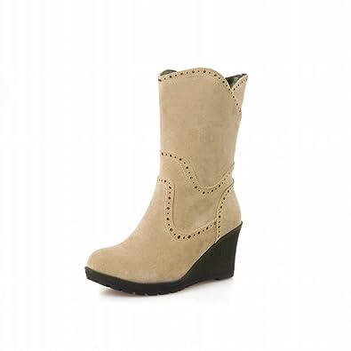 Women's Vintage Nubuck Mid Wedge Heel Platform Mid-calf Slouchy Boots