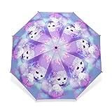 Cheap Unique Design Cat Parasol Umbrella 3 Folding Child Women Rain Umbrella Girl Lovely Animal Paraguas Gift Sombrinha
