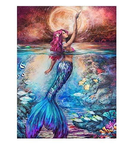 CANDYL DIY Oil Painting Paint by Number Kit for Kids Adults Students Beginner DIY Canvas Painting by Numbers Acrylic Oil Painting Arts Craft for Home Wall Decoration Mermaid 16x20 Inch