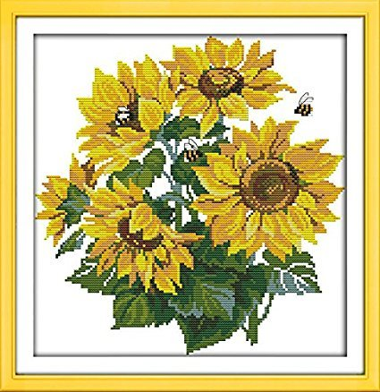 Stamped Cross Stitch Kits Sunflower 11 Count 41cmx42cm DIY N