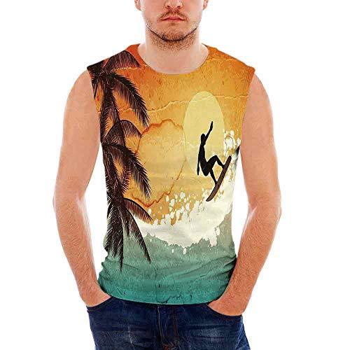 iPrint Mens Workwear Grunge Sleeveless Midweight T- Shirt,Illustration of Tropical Isla