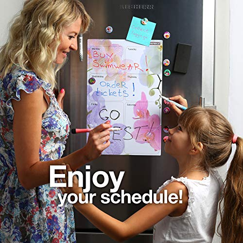 Magnetic Weekly Planner - Kitchen Gift Set - Magnet Dry Erase Fridge Daily Board - Happy Orchid Whiteboard Calendar by SMEREKA(TM) Photo #6