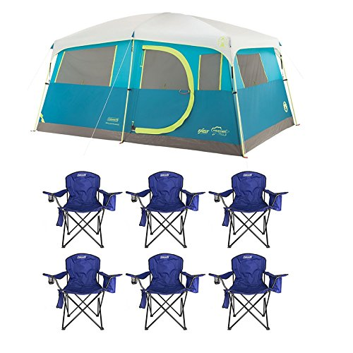 Coleman-Tenaya-Lake-8-Person-Instant-Cabin-WeatherTec-Camping-Tent-w-6-Chairs
