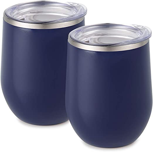 Bev Insulated Double Wall 12oz Wine Glass Coffee Cup Mug Tumbler with lid