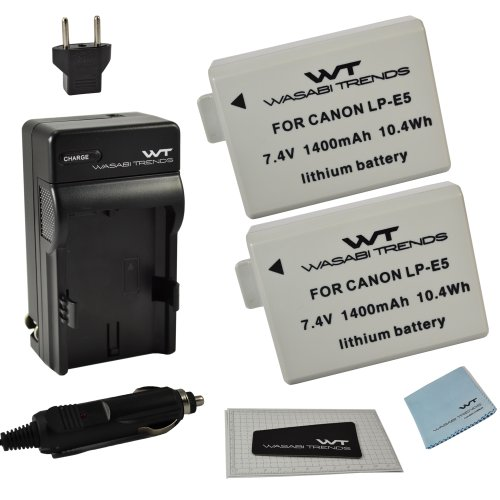 Combo Kit WT Nixxell Battery (2Pack) & Charger For Canon LP-E5 LC-E5 & Canon EOS 450D, 500D, 1000D, Kiss F, Kiss X2, Kiss X3, Rebel XS, Rebel XSi, Rebel T1i (Fully Decoded) ()