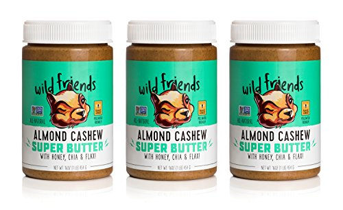 Wild Friends Foods Natural Almond Cashew Super Butter with Honey, Chia, & Flax, Gluten Free, Palm Oil Free, 3Count -