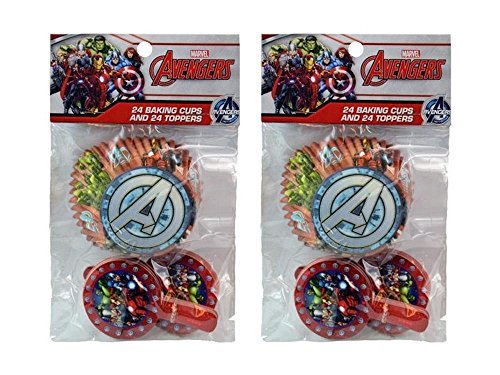 2-Pack Marvel Avengers 24 Cupcake Liners & 24 Toppers (48 Total) ()