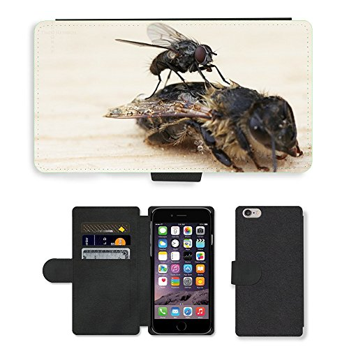 """Just Phone Cases PU Leather Flip Custodia Protettiva Case Cover per // M00129112 Fly Bee cadavre Aas mort // Apple iPhone 6 PLUS 5.5"""""""