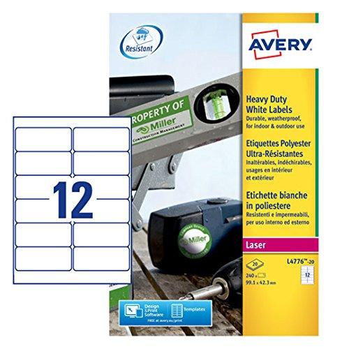 Avery L4776 - Etichette per stampante a laser, 20 fogli Avery Tico Srl L4776-20