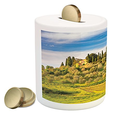 Lunarable Tuscan Piggy Bank, Green Field Tranquil Landscape Retro Stone Toscana Farmhouse Vineyard, Printed Ceramic Coin Bank Money Box for Cash Saving, Blue Green and ()