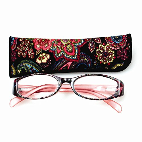 Price comparison product image Jewelry Best Seller Black With Flower Print 2.75 Magnification Reading Glasses