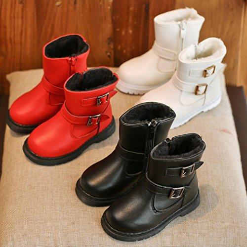 HUHU833 Kinder Mode Mädchen Stiefel, Martin Stiefel, Wärme Martin Sneaker Winter Baby Aufladungen beiläufige Kind Aufladungen Schwarz