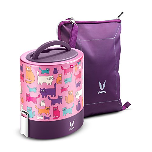 Vaya Tyffyn 1000 Cats Insulated Lunch Box With Bagmat-Stainl