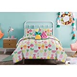 N2 4 Piece Kids White Orange Pink Fruit Themed Comforter Twin Set, Pineapple Bedding Strawberries Watermelon Hawaii Fruits Pine Apple Fun Cute Colorful Vibrant Green Red Blue, Polyester Microfiber