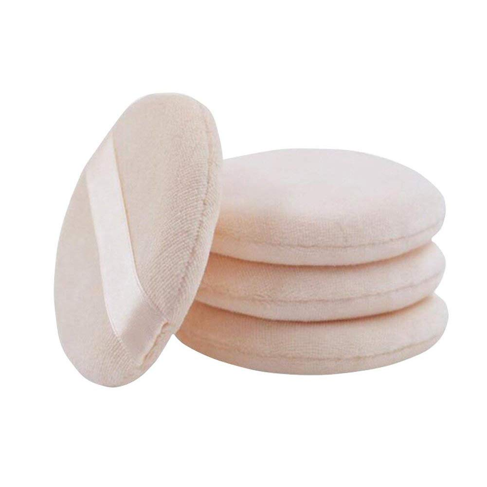 ericotry 6pcs 60mm Velvet Round Shaped Loose Powder Puffs with Satin Ribbon Band Soft Makeup Cosmetic Sponge for BB Cream Liquid Foundation