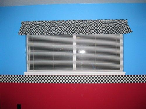 Nascar Checkered Flag Prepasted Wall Border Roll: Checkered Flag Cars Nascar Wallpaper Border-6 Inch (Red