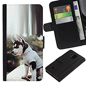 All Phone Most Case / Oferta Especial Cáscara Funda de cuero Monedero Cubierta de proteccion Caso / Wallet Case for Samsung Galaxy S5 Mini, SM-G800 // Siberian Husky Alaskan Malamute Puppy