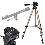 DURAGADGET High Quality Telescope Tripod with Extendable Legs and Ball-Tilt Head in Black & Gold Compatible With Celestron 21061 Astromaster 70AZ Telescope