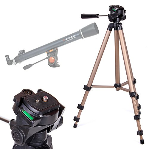 DURAGADGET Telescope Tripod with Extendable Legs and Ball-Tilt Head in Black & Gold Compatible With Celestron 21061 Astromaster 70AZ Telescope by DURAGADGET