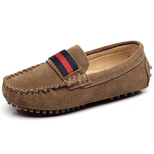 Shenn Boys Girls Fashion Strap Slip-On Dark Brown Suede Leather Loafer Flats 2998 US4.5