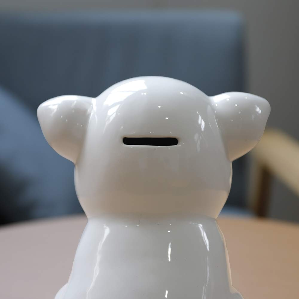 IKnow Ceramic Piggy Bank Home Decor Ornament Gift for Kids (White) by IKnow (Image #5)